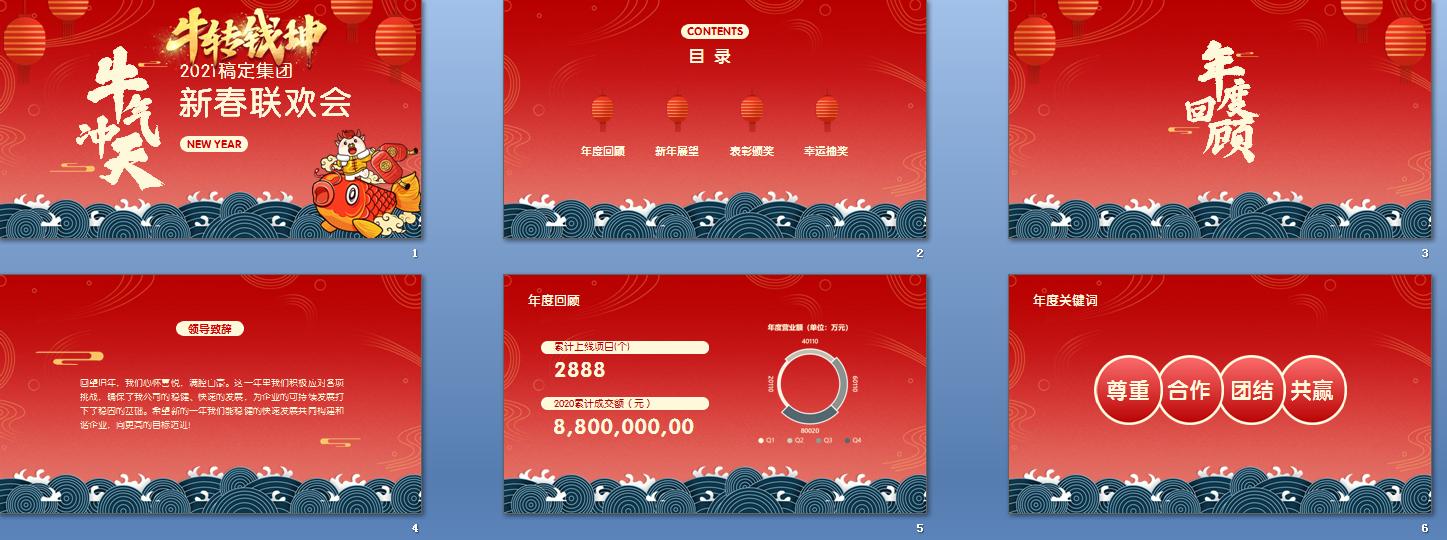 2021牛年中国风插画年会PPT